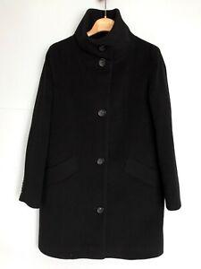 CINZIA ROCCA Wool/Cashmere Black Coat Stand Collar Size S IT 42 D 36 UK 10 US 6