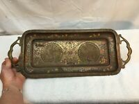 Vintage Brass Vanity Serving  Tray With Pecocks Made In India 16in x 7.5in