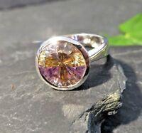 Rarität 925 Silber Ring Solitär Stein Multicolor Orange Weiß Gelb Pink Zirkonia