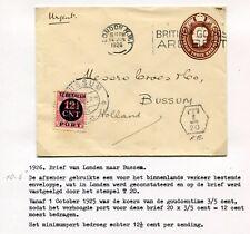 1926 onvold.gefankeerde postwaarde-envelop Londen naar Bussum, PORT P 68; T 20