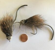 MOUSE RAT GRAY & BROWN Deer Hair Bass Bug Fly ~ 2 Per Pkg ~ Size 4/0