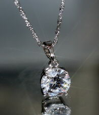 Sparkling 1 ct Created Brilliant Cut Diamond 18K White Gold GF Pendant + Chain