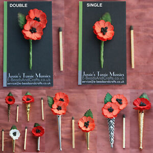"""1 Paper Poppy POSY: Tussie Mussie Flowers for """"Poirot"""" Lapel Pin/Brooch Vase"""