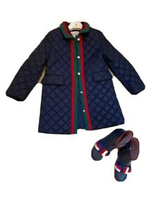 Authentic GUCCI Kids GG Pearl Buttons Web Blue Quilted Coat Size 5Y Set Boots 32