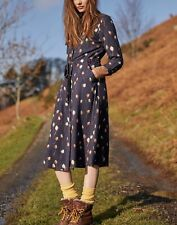 Joules Womens Briony Long Sleeve Button Front Shirt Dress - Navy Teasel - 16