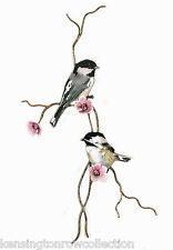 WALL ART - CHICKADEES PERCHED ON A FLOWERING BRANCH METAL WALL SCULPTURE