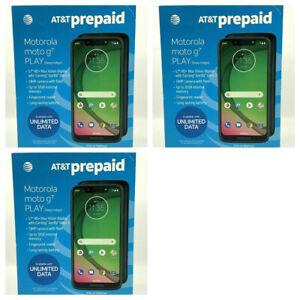 "AT&t Motorola Moto G7 Play 32GB Deep Indigo Pre-Paid Smartphone 5.7"" HD Lot of 3"
