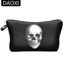 DAOXI Skull Black Cosmetic Bags Women Zipper Portable Makeup Bags Purse Gift