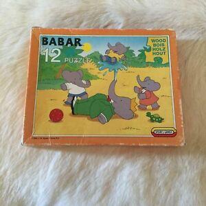 BABAR Jigsaw Puzzle 12 Pieces VINTAGE 1990 RARE 90s Beach Summer Elephants