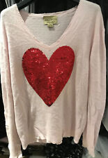 Wildfox Women Pink Sweater Jumper With Large Red Heart RRP£200 Size S