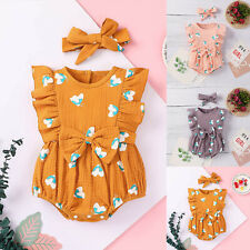 Newborn Infant Baby Girls Summer Floral Butterfly Bow Romper Bodysuit Outfits