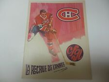 MONTREAL CANADIENS LA RECRUE DE L'ANNEE PROGRAM 1969 VS NEW YORK RANGERS 2/1