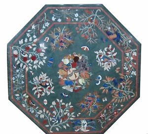 """42"""" Green Marble dining / center coffee Table Top Pietra dura Inlaid art work"""