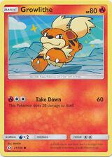 4X Growlithe COMMON (21/149) -Sun and Moon Base Set- -NM- Pokemon