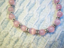 Handmade 8 1/2 in PINK Cat Eye and Tibetan Silver Bead BRACELET G-27