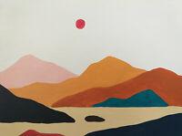 Original Zeitgenössische Malerei Gemälde Gebirge Art Bild Berge Holz Landschaft