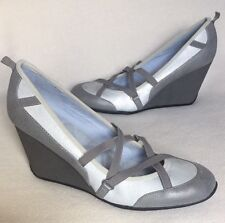 New Adrienne Vittadini Sport Grey Ballet Wedge Elastic Straps sz 9.5