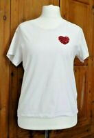 White T Shirt tee red heart sequins size 14 100% cotton
