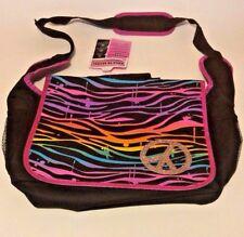 Back To School Messenger Laptop Bag Glitter Peace Sign Black Pink Multi-color