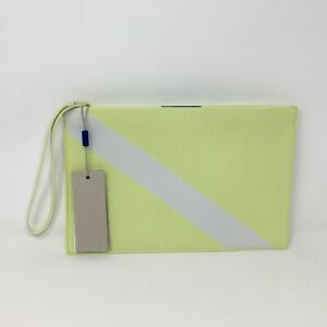 Women's Rothy's The Essential Knit Zip Pouch, Size OS - Light Lime/White