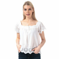 Womens Brave Soul Broderie Anglaise Square Neck Top In Off White