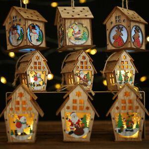 Christmas House Decor LED Light Wood Santa Claus Tree Elks Hanging Ornament Gift