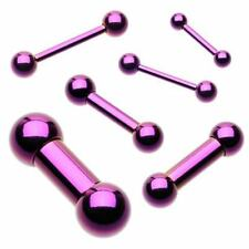 "Barbell Tongue Nipple Ring 14 Gauge 1/2"" 5mm Balls Titanium IP Purple Body Jewel"