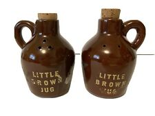 Vintage Salt Pepper Shakers Little Brown Jug Cork Tops Clay Stoneware Japan