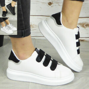 Ladies Womens Trainers Sneakers Slip On Jogging Plimsole Stick On Gym Pumps Shoe