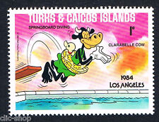 WALT DISNEY UN FRANCOBOLLO TURKS & CAICOS ISLANDS LOS ANGELES 1c 1984 nuovo