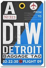 DTW - Detroit - Airport Baggage Tag - NEW Travel POSTER (tr510)