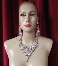 Da NeeNa J743 Two Kings Showgirl Cabaret Vegas Stage Crystal Earrings Necklace