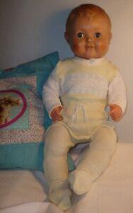 DDR große Baby Puppe Schlafaugen 58 cm TOP Zust. Babypuppe 60 J. alt Schelmenaug