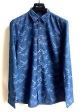 MCGREGOR Herren Langarm Hemd Shirt M Vogel Muster Indigo Jeans Blau