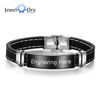 Black Leather & Stainless Steel Bangle Mens Personalised Bracelet Engraved Gift
