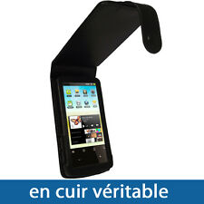 NOIR Cuir véritable Etui Housse pour Archos 32 Android Internet Tablet Tablette