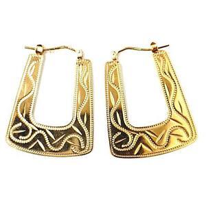 9ct Hoops Yellow Gold Flat Handbag Earrings 3.5g Snap Closure
