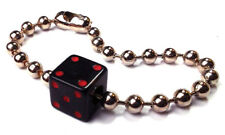"Mens Dice Bracelet - Giant Ball Chain Black Dice Red Pips 8.75"" Long Rockabilly"
