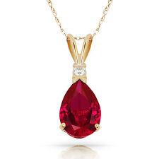 3.05CT Rubí Rojo Forma Pera 2 Piedra Piedra Preciosa Cadena y Colgante 14K y Oro