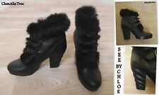 "SUPERBES BOTTINES ""SEE BY CHLOÉ"" EN CUIR&LAPIN ET DE JOLIS TALONS POINT.40/40,5"