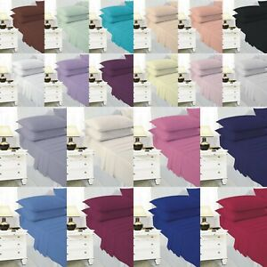 100% Poly Cotton Bed Sheets Fitted Sheet Single Double King Superking Pillowcase