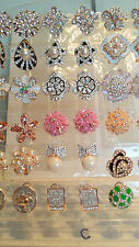 Joblot of 18 Pairs Mixed Design Diamante stud Earrings - NEW Wholesale lot C