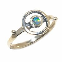 Australian Fire Opal Natural Gemstone 925 Sterling Silver Ring Size 8 SR-484