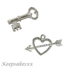 Sterling Silver Heart & Arrow with Little Key UK 925 NEW 3D Charm Charms