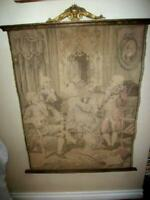 ANTIQUE FRENCH PASTEL TAPESTRY PARLOR SCENE BARBOLA FLOWER BASKET POLYCHROME