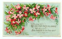 1800's VINTAGE ANTIQUE VICTORIAN EASTER*CARD*PINK FLOWERS*EMBOSSED*GREETING