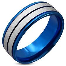 Zense - Bague bleue pour homme avec acier brossé ZR0124 - Taille 62