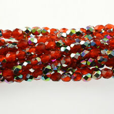 Orange Vitral - 50 6mm Round Faceted Czech Glass Fire Polish Beads