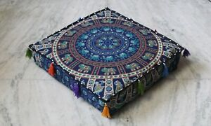 """Indian Floor Pillow Cotton Cushion Cover Dog Bed Cover New Mandala 24X24"""""""