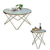 Mid Century Modern Coffee and End Table Set in Champagne